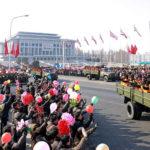Vítání účastníků přehlídky k 70 letům Korejské lidové armády