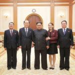 Kim Čong Un se setkal se členy delegace na vysoké úrovni a orchestru Samčijon