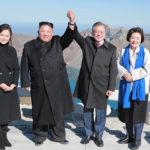 Soudruh Kim Čong Un a prezident Mun Če In společně vystoupili na horu Pektu